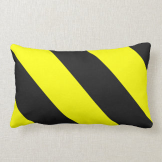 Yellow Black Attention Warning Stripes Lumbar Pillow