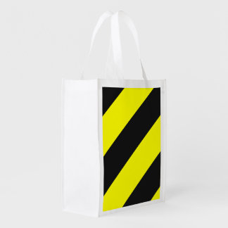 Yellow Black Attention Warning Stripes Reusable Grocery Bags