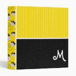 Yellow & Black Bee Pattern 3 Ring Binder