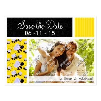 Yellow & Black Bee Pattern Postcard