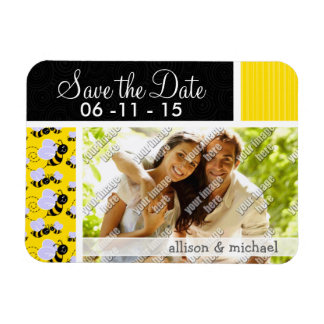 Yellow & Black Bee Pattern Rectangle Magnets