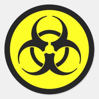 Yellow & Black Biohazard Symbol Sticker Round Sticker