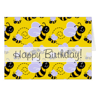 Yellow & Black Bumble Bee Greeting Card