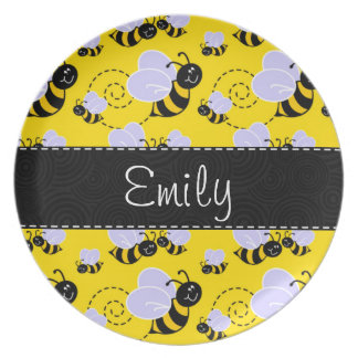 Yellow & Black Bumble Bee Dinner Plate