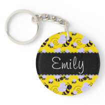 Yellow & Black Bumble Bee Keychain