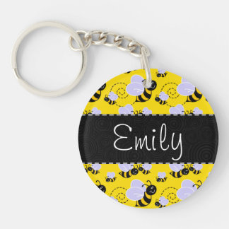 Yellow & Black Bumble Bee Keychain