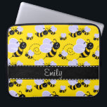 "Yellow &amp; Black Bumble Bee Laptop Sleeve<br><div class=""desc"">You will love this cute,  elegant  Yellow &amp; Black Bumble Bee; bees  pattern design!  We invite you to our store,  Pattern Palace,  to view this cool pattern on many more great customizable products,  including girly birthday cards,  modern invitations,  and trendy wedding RSVP cards!  Thank you!</div>"