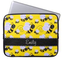 Yellow & Black Bumble Bee Laptop Sleeve