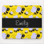 Yellow & Black Bumble Bee Mouse Pad