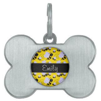 Yellow & Black Bumble Bee Pet Name Tag