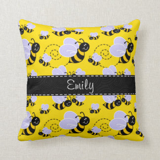 Yellow & Black Bumble Bee Pillows
