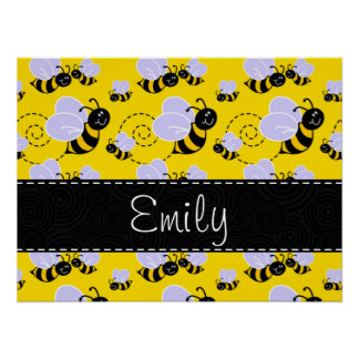 Yellow & Black Bumble Bee Poster