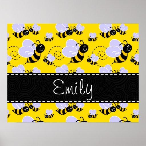 Yellow & Black Bumble Bee Print