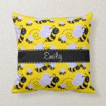 Yellow & Black Bumble Bee Throw Pillow