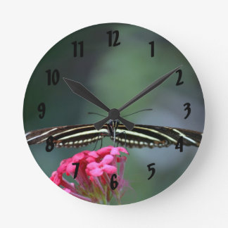 yellow black butterfly head on wings out c round clocks