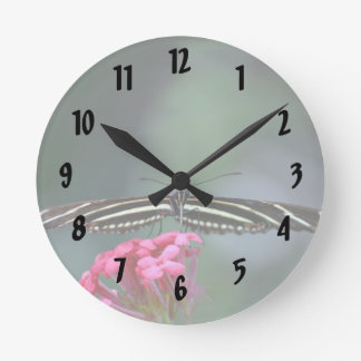 yellow black butterfly head on wings out c wall clock