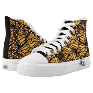 Yellow Black Butterfly High Top Printed Shoes
