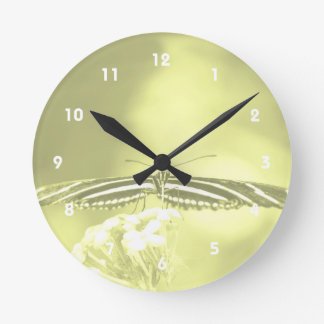 yellow black butterfly yellow fade head on wings round wall clock