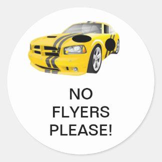 Yellow & Black Car No Flyers Please Sticker