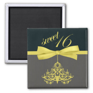 Yellow & Black Chandelier Sweet Sixteen Magnet