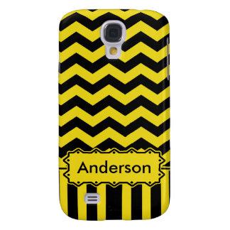 Yellow Black Chevron Name Template Samsung Galaxy S4 Cover