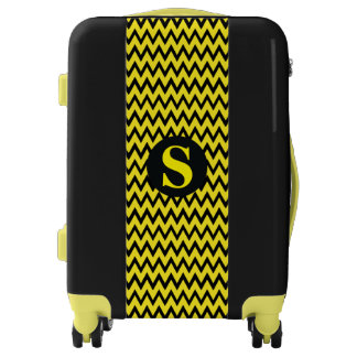 Yellow Black Chevron Personalized Initial Luggage
