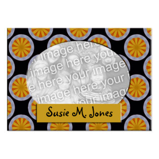 Yellow black circles photo frame business card template