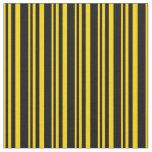 [ Thumbnail: Yellow & Black Colored Stripes Fabric ]