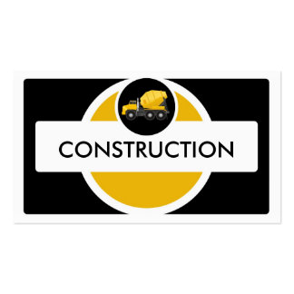 Yellow black construction truck business cards