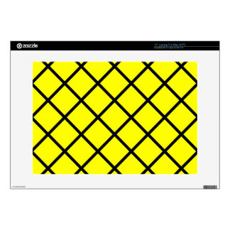 "Yellow Black Criss Cross Lines 15"" Laptop Skins"