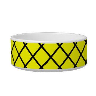 Yellow Black Criss Cross Lines Bowl