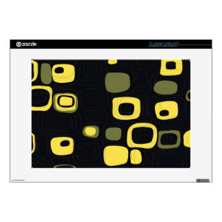 "Yellow Black Criss Cross Lines Decal For 15"" Laptop"
