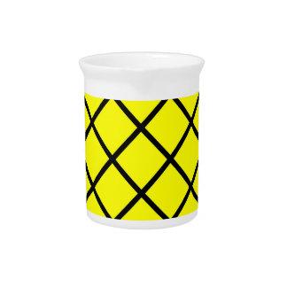 Yellow Black Criss Cross Lines Pitcher