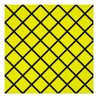 Yellow Black Criss Cross Lines Poster