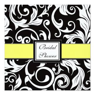 Yellow & Black Damask Bridal Shower Invitations