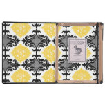 Yellow & black damask floral girly flower pattern iPad cases