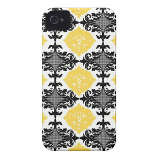 Yellow & black damask floral girly flower pattern iPhone 4 Case-Mate case
