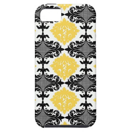 Yellow & black damask floral girly flower pattern iPhone 5 covers