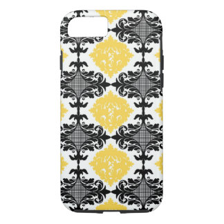 Yellow & black damask floral girly flower pattern iPhone 7 case