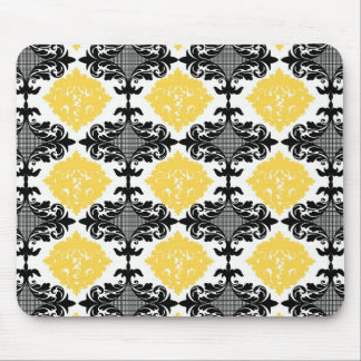 Yellow & black damask floral girly flower pattern mouse pad