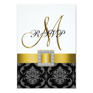 "Yellow Black Damask Gold Initial Wedding RSVP 3.5"" X 5"" Invitation Card"