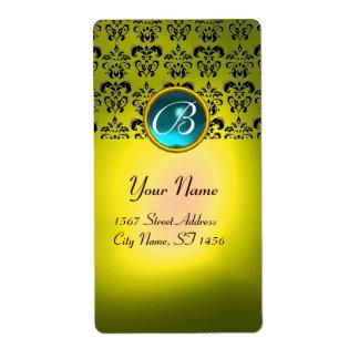 YELLOW BLACK DAMASK MONOGRAM, aquamarine turquase Shipping Label