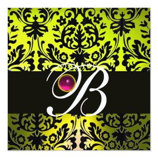 YELLOW BLACK DAMASK MONOGRAM PINK PURPLE Amethyst 5.25x5.25 Square Paper Invitation Card