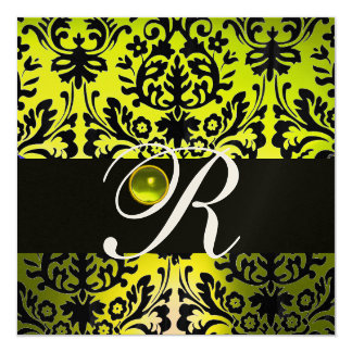 YELLOW BLACK DAMASK MONOGRAM TOPAZ Champagne 5.25x5.25 Square Paper Invitation Card
