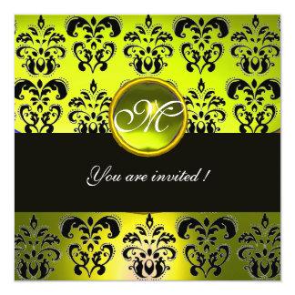 YELLOW BLACK DAMASK MONOGRAM,  topaz 5.25x5.25 Square Paper Invitation Card