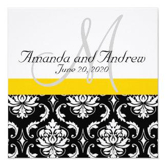 Yellow Black Damask Names Wedding Invitation