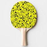 Yellow black damask pattern ping pong paddle
