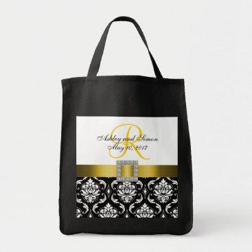 monogramgallery Yellow, Black Damask Personalized Wedding Tote Bag