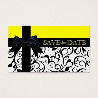 Yellow black damask save the date business cards