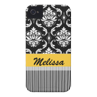 Yellow Black Damask Stripes Your Name iPhone 4 Case-Mate Case